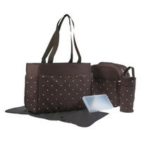 Baby Essentials 5-in-1 Tote - Pink / Brown Polka Dot