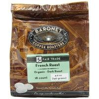 Baronet Coffee Fair Trade Organic French Roast Dark Roast (140 g), 18-Count Coffee Pods (Pack of 3)
