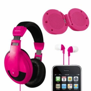 Vibe Sound 3 In 1 Ultimate Audio Kit With Earbuds, Headphones And Speaker, Pink, 1 ea