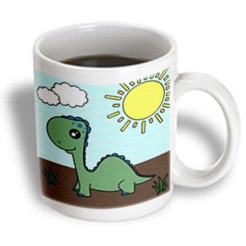 Recaro North 3dRose - Janna Salak Designs Dinosaurs - Cute Baby Green Dinosaur Scene - 15 oz mug