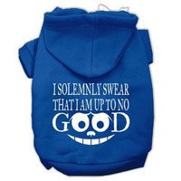 Mirage Pet Products Up to No Good Screen Print Pet Hoodies Blue Size Med (12)