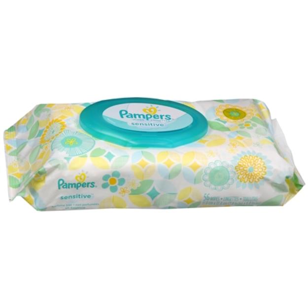 Pampers Sensitive Wipes Travel Pack, 56 ea