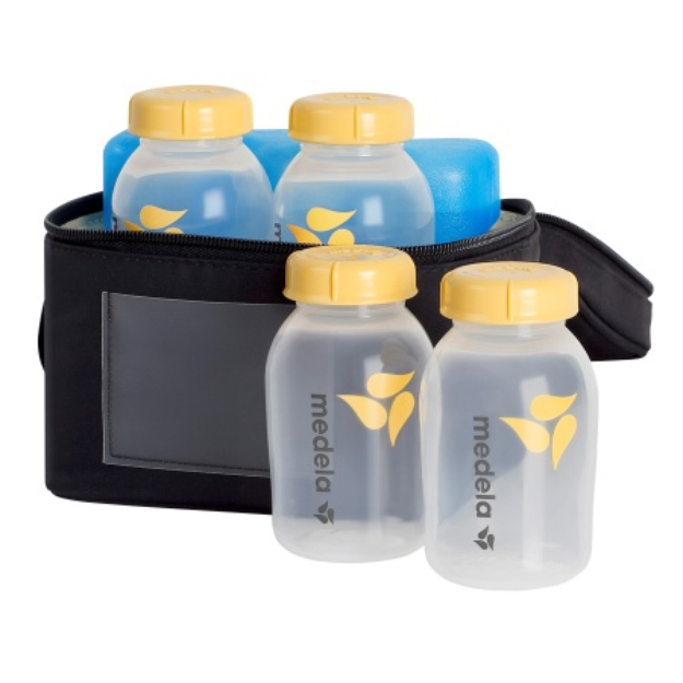 Medela Breastmilk Cooler Set with 4 Bottles & Lids, Cooler and Ice