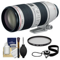 Canon EF 70-200mm f/2.8 L IS II USM Zoom Lens + Hoya UV Filter + Accessory Kit for EOS 6D, 70D, 5D Mark II III, Rebel T3, T3i, T4i, T5, T5i, SL1 DSLR Cameras