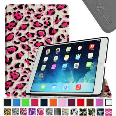 Fintie Smart Shell Leather Case Cover for iPad Mini 2 (2013 Edition) and Mini (2012 Edition), Leopard Pink