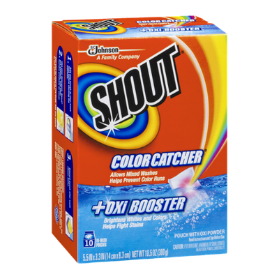 Shout In-Wash Pouches Color Catcher +Oxi Booster - 10 CT