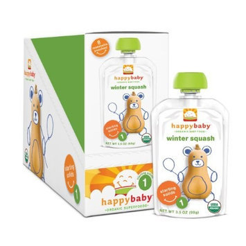 Happybaby Happy Baby Organic Baby Food 1 Starting Solids, Winter Squash, 3.5 oz (Pack of 16)