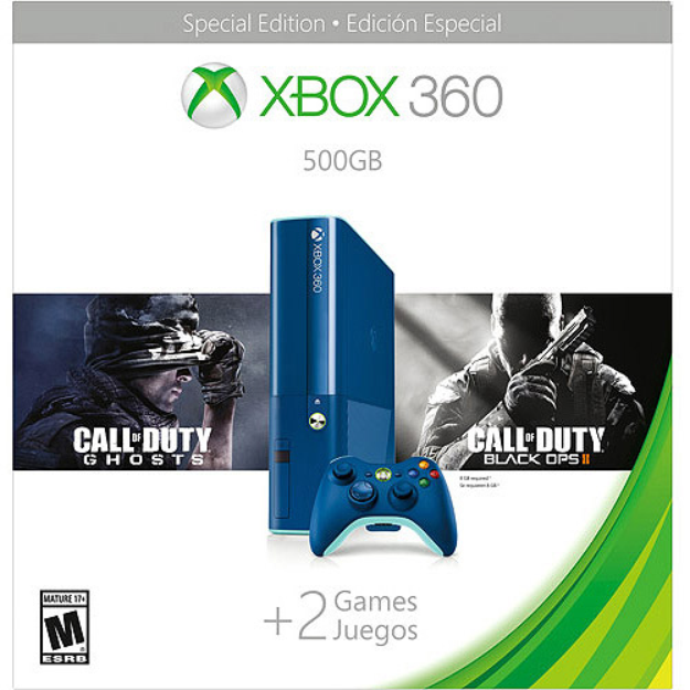 Microsoft Xbox 360 500GB Special Edition Blue Console Bundle with Call of Duty Ghosts and Call of Duty Black Ops 2 - Walmart Exclusive