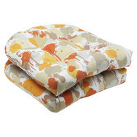 Pillow Perfect Outdoor 2-Piece Wicker Seat Cushion Set - Orange/Tan Neddick