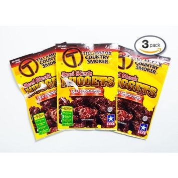 Tillamook Country Smoker - OLD FASHIONED BEEF STEAK NUGGETS 3 x 3.25 oz Total 9.75 oz Smoked & Dried to Perfection Beef Jerky Meat Snack Camping Hiking (Pack of 3)