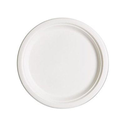 Eco Products Eco-Products Compostable Sugarcane Dinnerware, 10 Plate, Natural White, 500/Carton