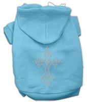 Mirage Pet Products 5422 LGBBL Rhinestone Cross Hoodies Baby Blue L 14