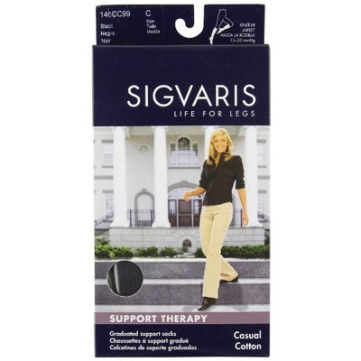 Sigvaris 146C Women's Casual Cotton 15-20mmHg Closed Toe Knee High Sock Size: C (10-12), Color: Black 99