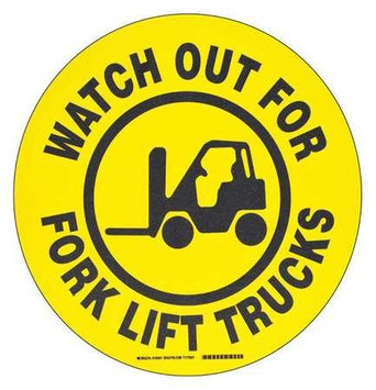 Brady B534FS 17in Black/YL Watch OUT for Forklift (Floor Marking Sign). Model: 104501