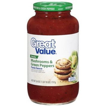 Great Value: Chunky Mushrooms & Green Peppers Pasta Sauce, 26 oz