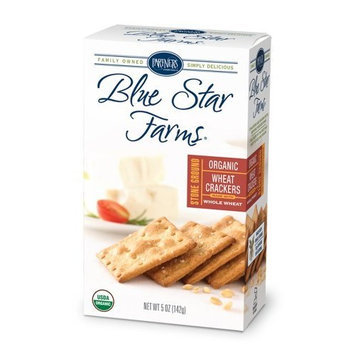 Partners Blue Star Farms ORGANIC Stoned Ground Wheat Crackers Bite-Size Crackers, 5-Ounce Boxes (Pack of 6)