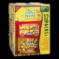 Nabisco Mini Lorna Doone Shortbread Cookies, Barnum's Animals Crackers & Teddy Grahams Chocolate Cookies Variety Packs - 12 CT
