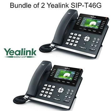 Yealink SIP-T46G Bundle of 2 Gigabit 16 Line VoIP Phone PoE No Power Supply