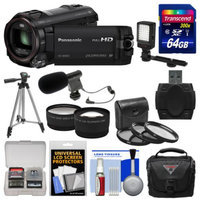 Panasonic HC-W850K Twin Recording HD Wi-Fi Video Camera Camcorder with 64GB Card + Case + LED Light + Mic + Tripod + 3 Filters + 2 Tele/Wide Lens Kit
