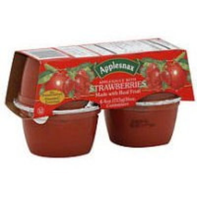 Applesnax Strawberry Apple Sauce Cups, 4 OZ (Case of 12)