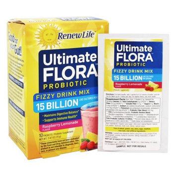 Ultimate Flora Probiotic Fizzy Drink Mix Raspberry Lemonade Renew Life 10 Packet