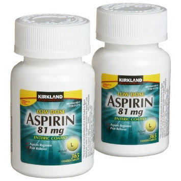 Kirkland Signature Low Dose Aspirin, 2 bottles - 365-Count Enteric Coated Tablets 81 mg each