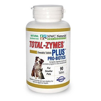 International Veterinary Sciences NWC Naturals Total-Zymes Plus - 90 Tablets (1 tablet treats 1/2 cup of pet food) Enzymes and Probiotics for smaller Dogs and Cats