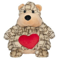 Patchwork Pet Cocoa Swirl Bear 14-Inch Squeak Toy for Dogs