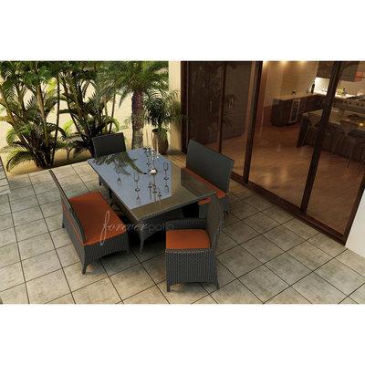 A & D Creations Hampton 5pc Patio Dining Set featuring Sunbrella® Fabric inCanvas Rust