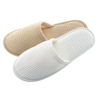 Appearus Cotton Waffle Slippers, Close-toed, Natural (3 Pairs/as160nx3)