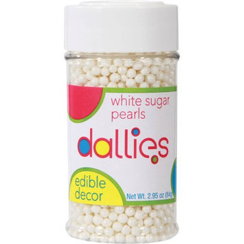 Xcell International Corp Dallies White Sugar Pearls Edible Decor, 2.95 oz