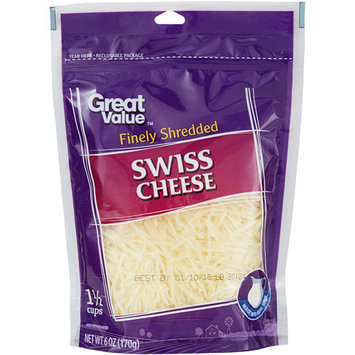 Great Value Finely Shredded Swiss Cheese, 6 oz