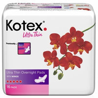 Kotex Ultra Thin Overnight Pads with Wings, 16 pads