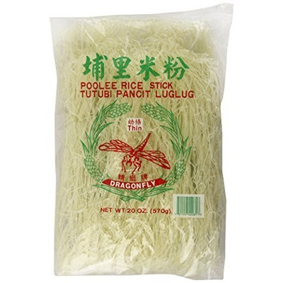 Dragonfly Poolee Rice Stick Noodles, Thin, 20-Ounce (Pack of 6)