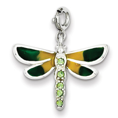 Sears Expired goldia Sterling Silver CZ & Enameled Dragonfly
