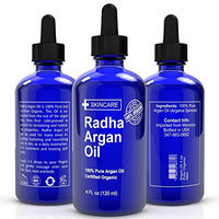 Radha Beauty Organic Argan Oil For Hair, Face & Skin ★ 100% Pure, Virgin, Cold Pressed, Unrefined Argan Oil of Morocco ★ Miracle Moroccan Oil For Every Skin Condition, Hair, Nails, Anti-aging & More! ★ Fabulous Conditioner and Moisturizer ★ Huge 4 Ounces ★ 100% Guaranteed to Work Wonders for Your Body!