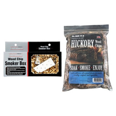 Mr. Bar-B-Q - Hickory Wood Chips with Stainless Steel Smoker Box