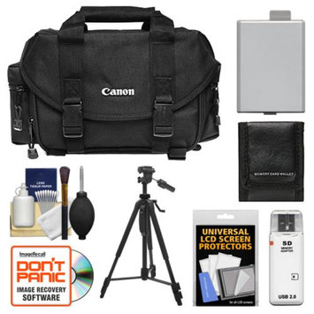 Canon 2400 Digital SLR Camera Case Gadget Bag + Tripod + LP-E5 Battery + Accessory Kit for EOS Rebel XS, XSi, & T1i
