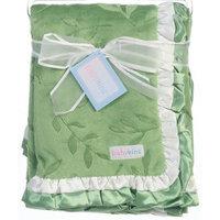Green Newborn Leaf Pattern Ruffle Trim Blanket Baby Girls Boys