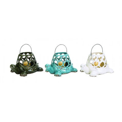 Uma Ceramic Turtle Lantern 3 Asst 12w, 7h