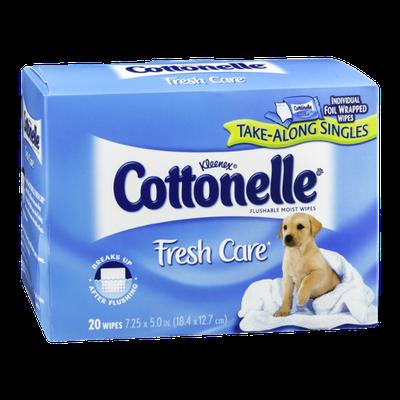 Kleenex Cottonelle Fresh Care Take Along Singles Flushable Moist Wipes - 20 CT