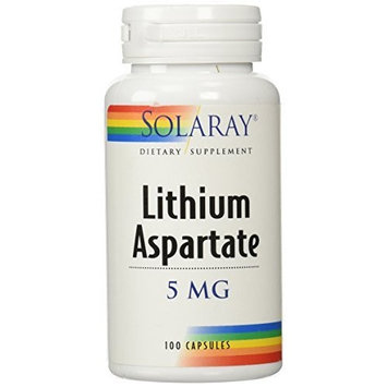 Solaray Lithium Aspartate Supplement, 5 mg, 100 Count