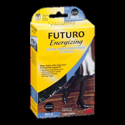 Futuro Energizing Ultra Sheer Pantyhose for Women Mild Medium/Black