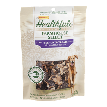 Ruffin' It Healthfuls Farmhouse Select Dog Treats Beef Liver