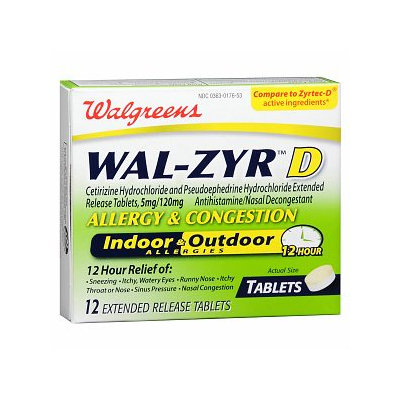 Walgreens Wal-Zyr D Allergy & Congestion Extended Release Tablets