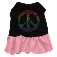 Mirage Pet Products 5718 SMBKPK Rhinestone Rainbow Peace Dress Black with Pink Sm 10