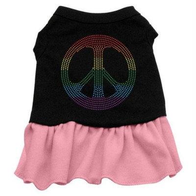 Mirage Pet Products 5718 XXLBKPK Rhinestone Rainbow Peace Dress Black with Pink XXL 18