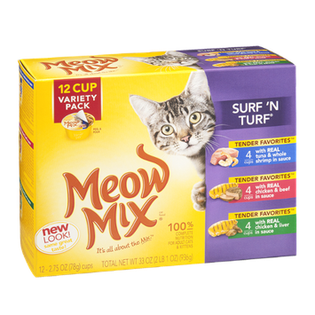 Meow Mix Surf 'N Turf Variety Pack Cat Food - 12 CT