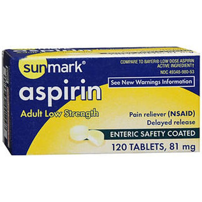 Sunmark Aspirin Adult Low Strength Enteric Safety, 81 mg, 120 tabs by Sunmark