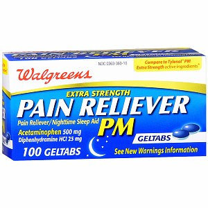 Walgreens PM Extra Strength Pain Reliever Geltabs
